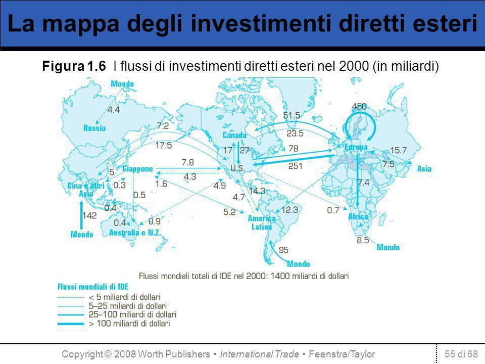 55 di 68 La mappa degli investimenti diretti esteri Figura 1.6 I flussi di investimenti diretti esteri nel 2000 (in miliardi) Copyright © 2008 Worth P