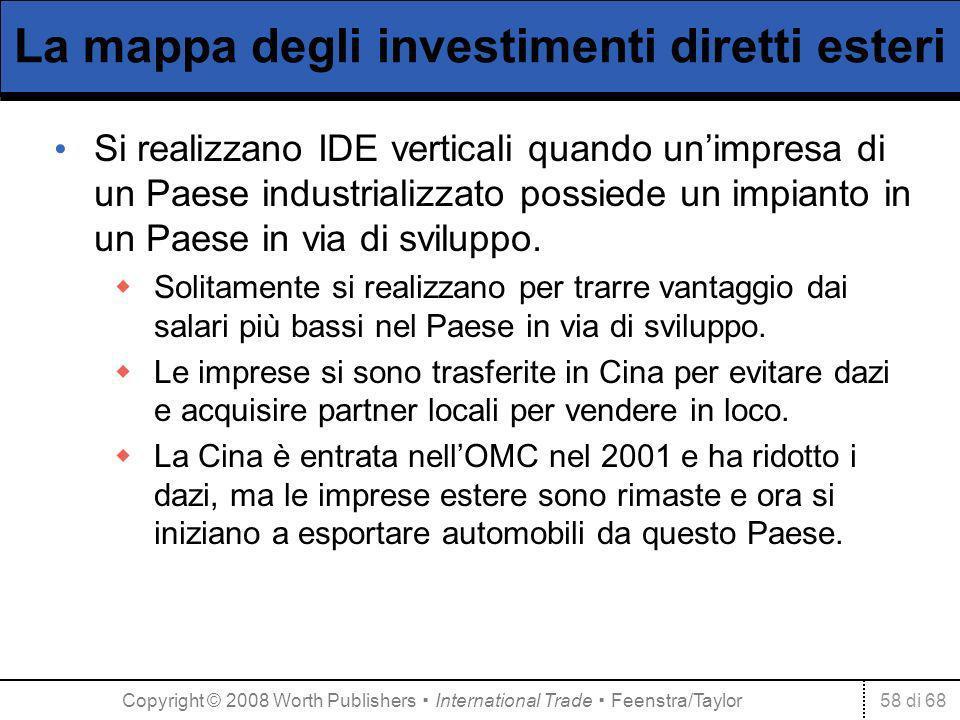 58 di 68 La mappa degli investimenti diretti esteri Si realizzano IDE verticali quando unimpresa di un Paese industrializzato possiede un impianto in un Paese in via di sviluppo.
