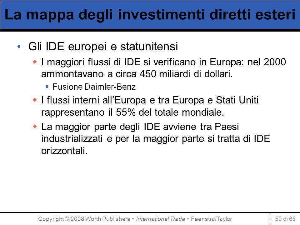 59 di 68 La mappa degli investimenti diretti esteri Gli IDE europei e statunitensi I maggiori flussi di IDE si verificano in Europa: nel 2000 ammontavano a circa 450 miliardi di dollari.