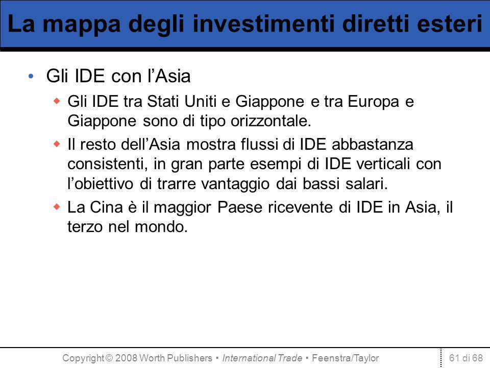61 di 68 La mappa degli investimenti diretti esteri Gli IDE con lAsia Gli IDE tra Stati Uniti e Giappone e tra Europa e Giappone sono di tipo orizzont