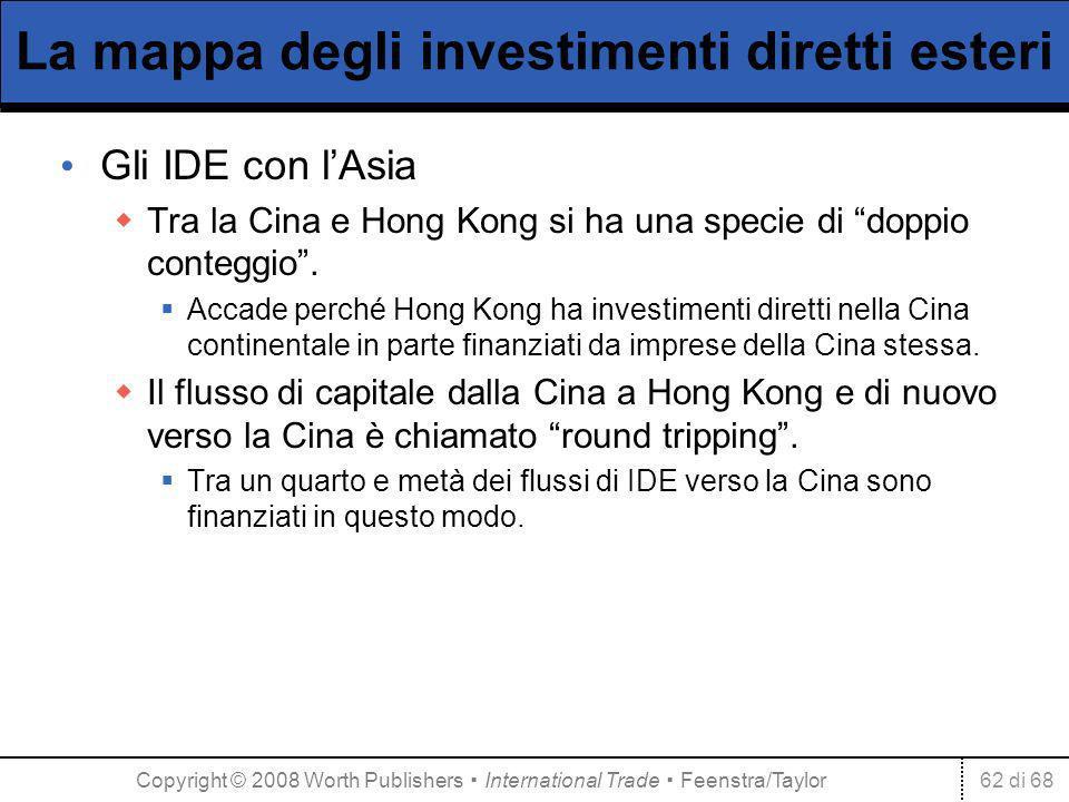 62 di 68 La mappa degli investimenti diretti esteri Gli IDE con lAsia Tra la Cina e Hong Kong si ha una specie di doppio conteggio. Accade perché Hong