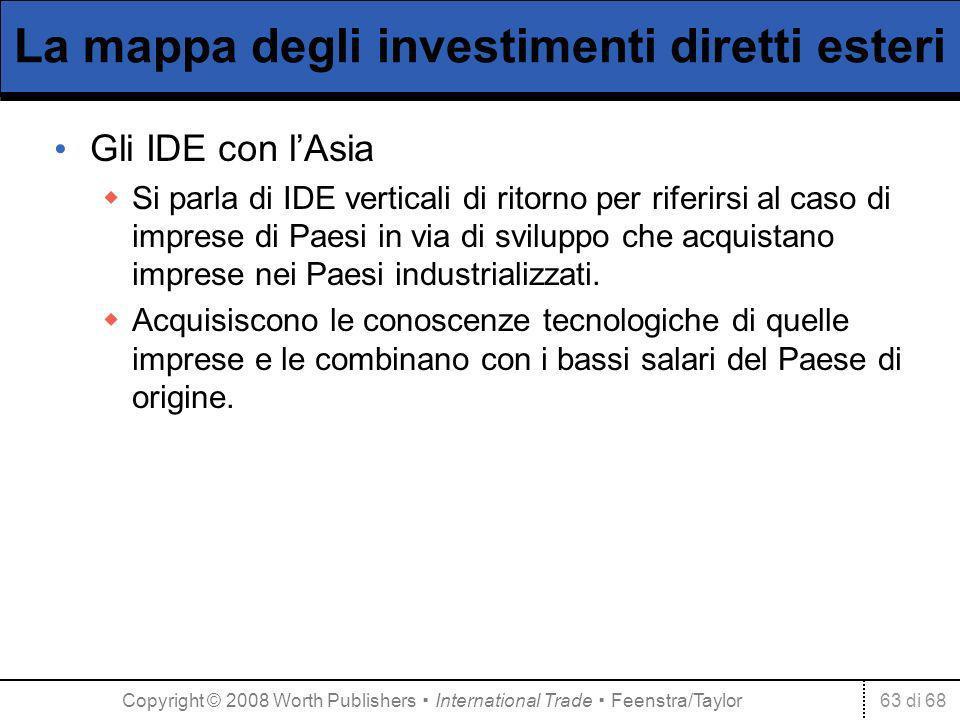 63 di 68 La mappa degli investimenti diretti esteri Gli IDE con lAsia Si parla di IDE verticali di ritorno per riferirsi al caso di imprese di Paesi in via di sviluppo che acquistano imprese nei Paesi industrializzati.