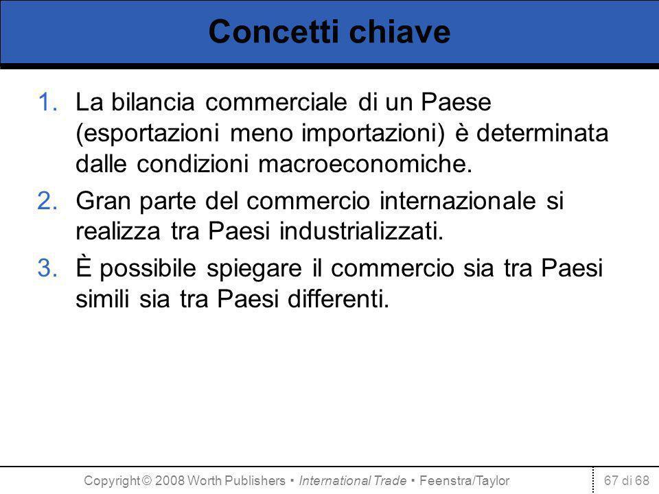 67 di 68 Concetti chiave 1.La bilancia commerciale di un Paese (esportazioni meno importazioni) è determinata dalle condizioni macroeconomiche. 2.Gran
