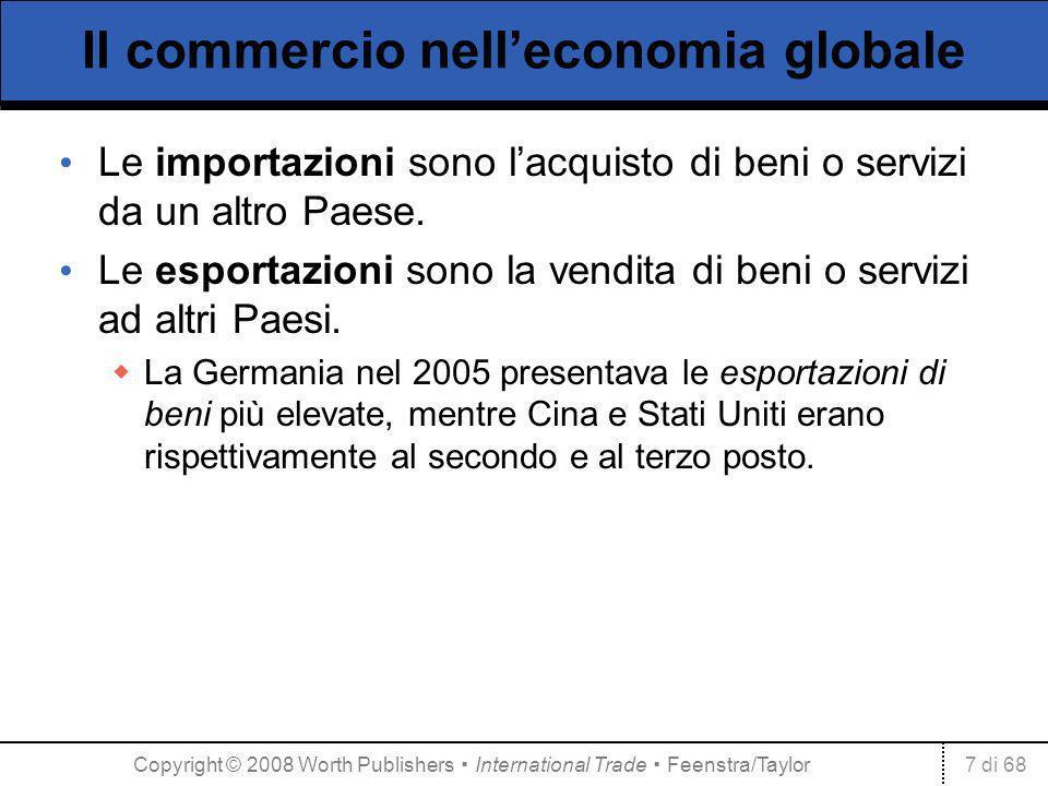 7 di 68 Il commercio nelleconomia globale Le importazioni sono lacquisto di beni o servizi da un altro Paese. Le esportazioni sono la vendita di beni