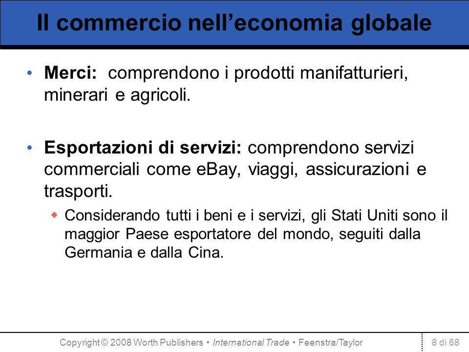 8 di 68 Il commercio nelleconomia globale Merci: comprendono i prodotti manifatturieri, minerari e agricoli. Esportazioni di servizi: comprendono serv