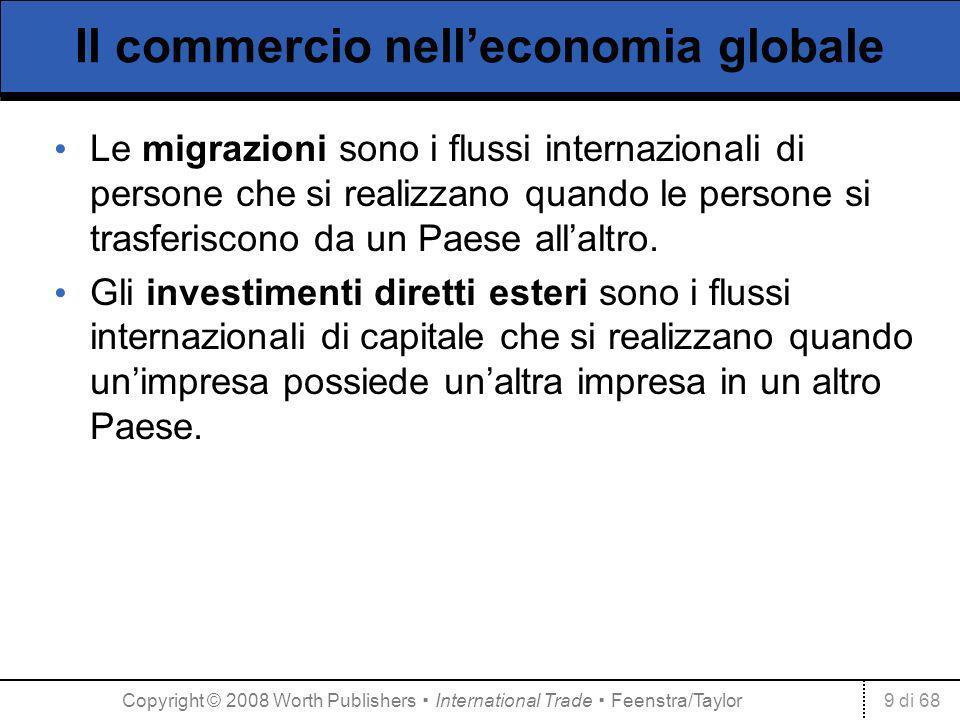 9 di 68 Il commercio nelleconomia globale Le migrazioni sono i flussi internazionali di persone che si realizzano quando le persone si trasferiscono d