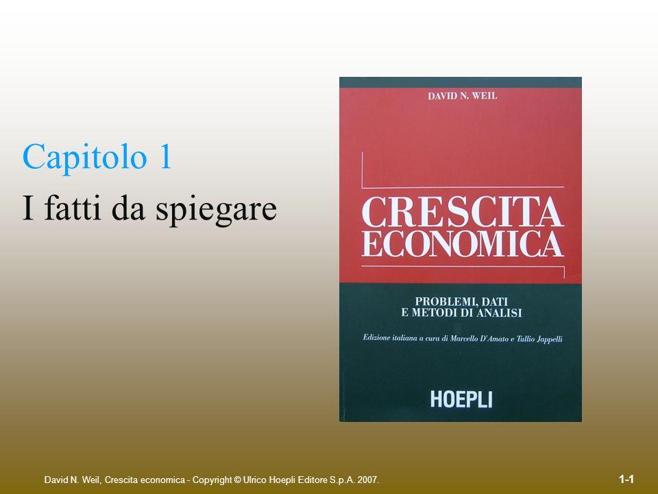 David N. Weil, Crescita economica - Copyright © Ulrico Hoepli Editore S.p.A. 2007. 1-1 Capitolo 1 I fatti da spiegare