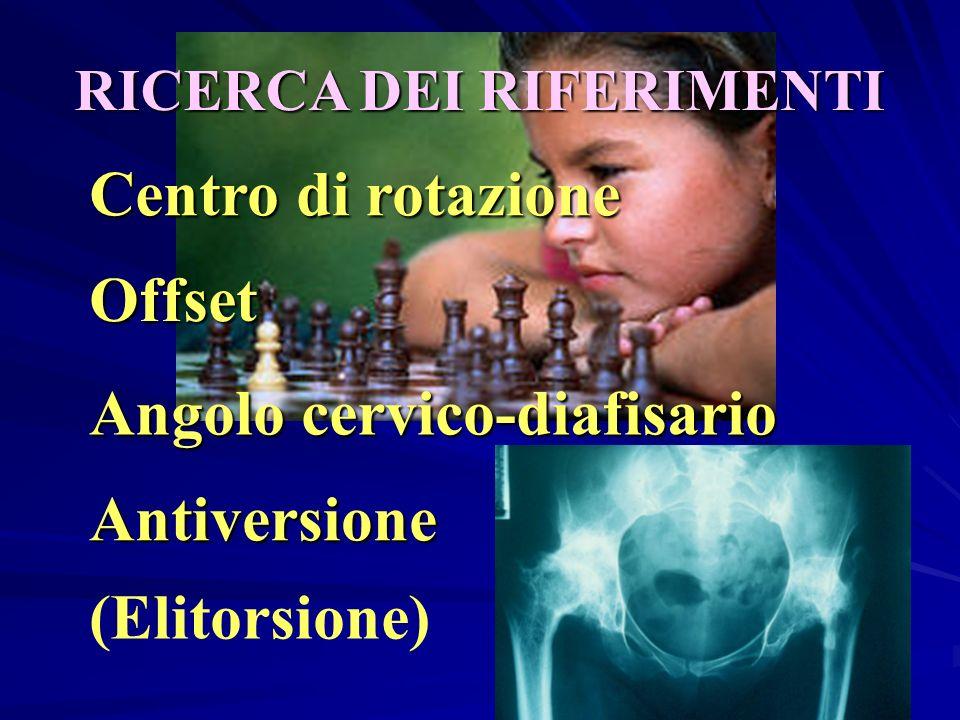 RICERCA DEI RIFERIMENTI Offset Centro di rotazione Angolo cervico-diafisario Antiversione (Elitorsione)