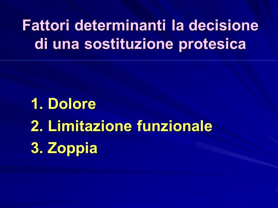 Fattori determinanti la decisione di una sostituzione protesica 1.