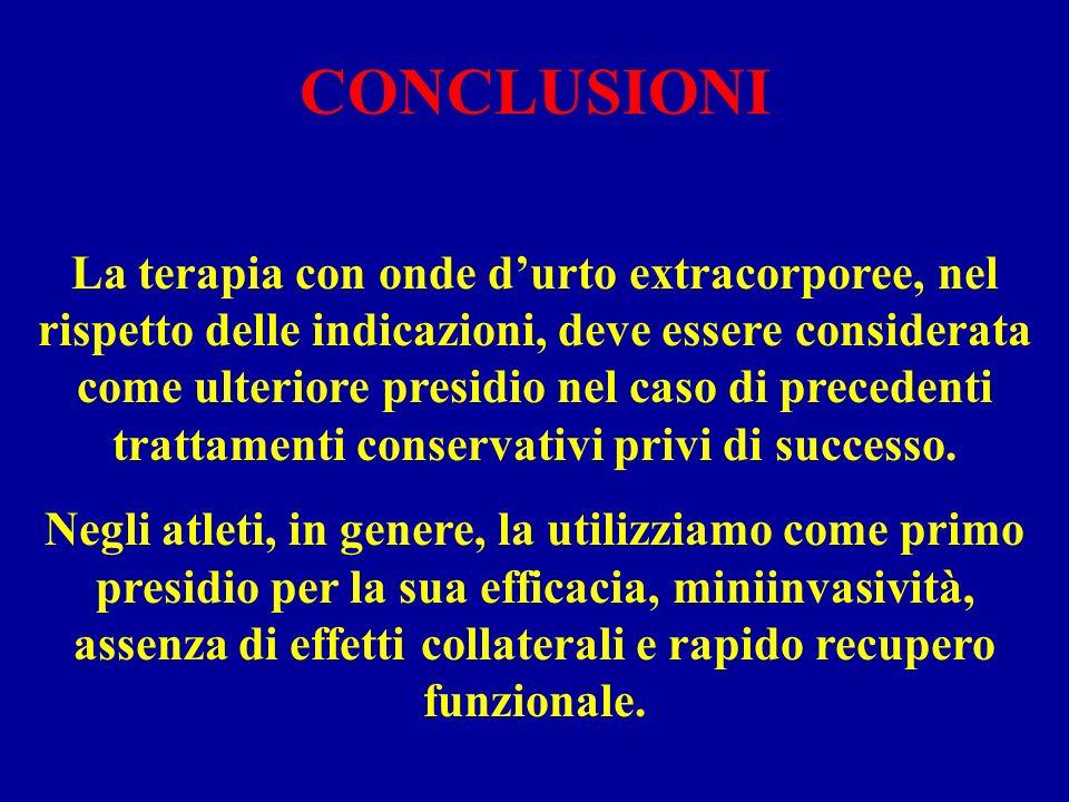 CONCLUSIONI La terapia con onde durto extracorporee, nel rispetto delle indicazioni, deve essere considerata come ulteriore presidio nel caso di prece