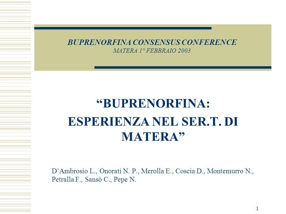 1 BUPRENORFINA CONSENSUS CONFERENCE MATERA 1° FEBBRAIO 2003 BUPRENORFINA: ESPERIENZA NEL SER.T.