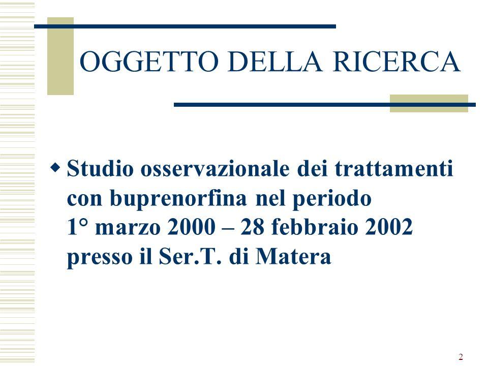 2 OGGETTO DELLA RICERCA Studio osservazionale dei trattamenti con buprenorfina nel periodo 1° marzo 2000 – 28 febbraio 2002 presso il Ser.T.