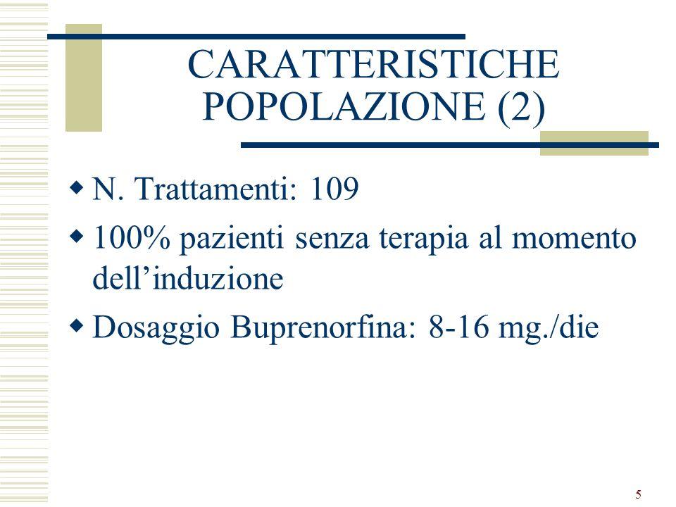 6 CARATTERISTICHE POPOLAZIONE (3) inclusione Criteri di inclusione al trattamento Tossicodipendenza di gravità intermedia (dipendenza fisica lieve; craving moderato) Tossicodip.
