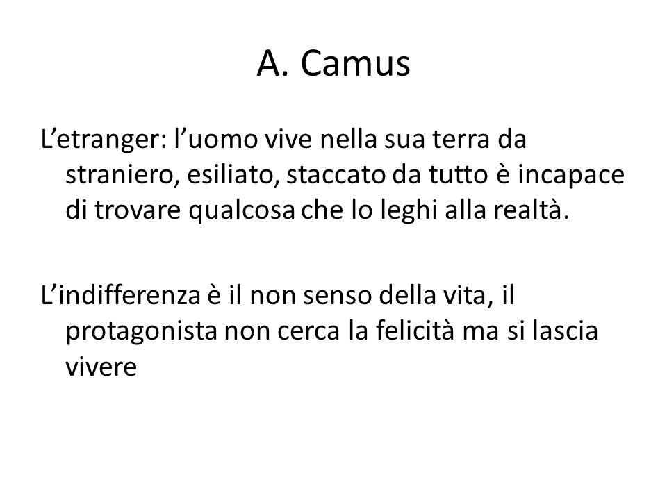A. Camus Letranger: luomo vive nella sua terra da straniero, esiliato, staccato da tutto è incapace di trovare qualcosa che lo leghi alla realtà. Lind