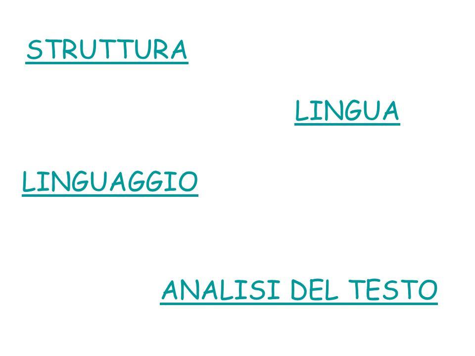 LINGUAGGIO ANALISI DEL TESTO STRUTTURA LINGUA