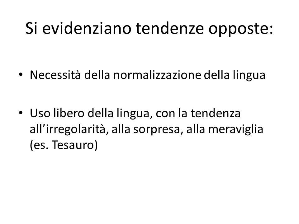 Si evidenziano tendenze opposte: Necessità della normalizzazione della lingua Uso libero della lingua, con la tendenza allirregolarità, alla sorpresa,