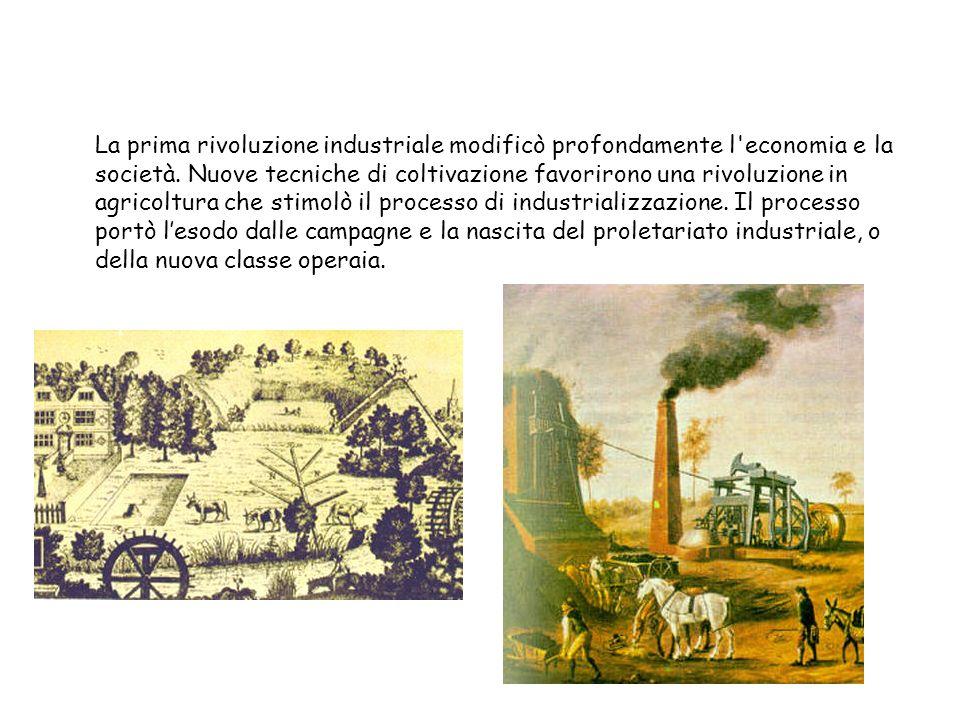 La prima rivoluzione industriale modificò profondamente l'economia e la società. Nuove tecniche di coltivazione favorirono una rivoluzione in agricolt