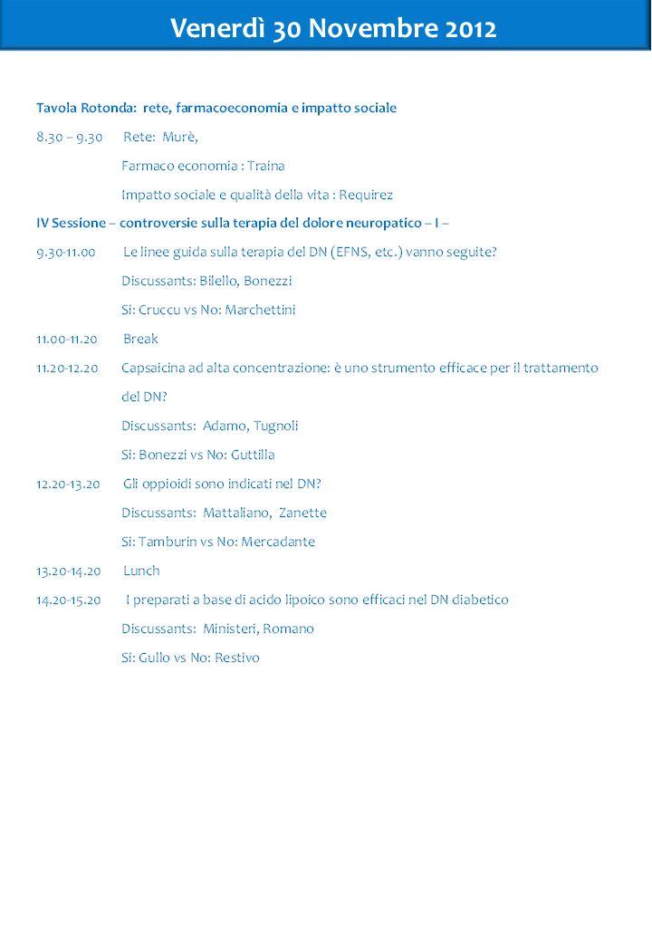 Venerdì 30 Novembre 2012