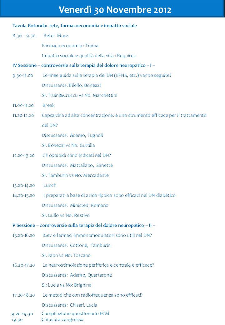 Venerdì 30 Novembre 2012 9.20-19.30Compilazione questionario ECM 19.30Chiusura congresso