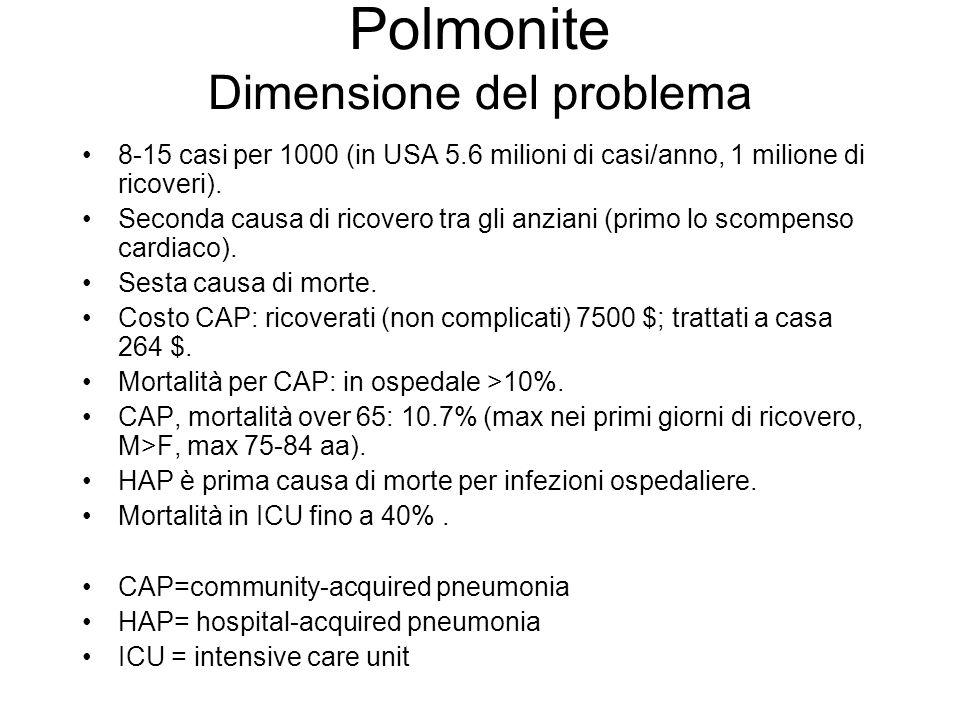 Polmonite Dimensione del problema 8-15 casi per 1000 (in USA 5.6 milioni di casi/anno, 1 milione di ricoveri).