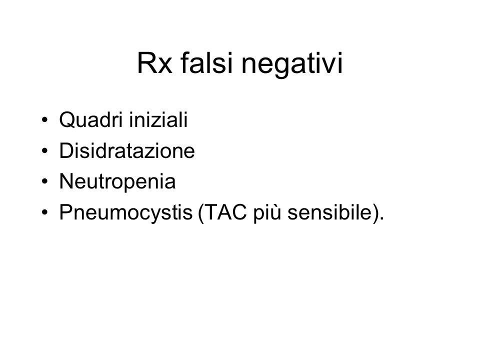 Rx falsi negativi Quadri iniziali Disidratazione Neutropenia Pneumocystis (TAC più sensibile).