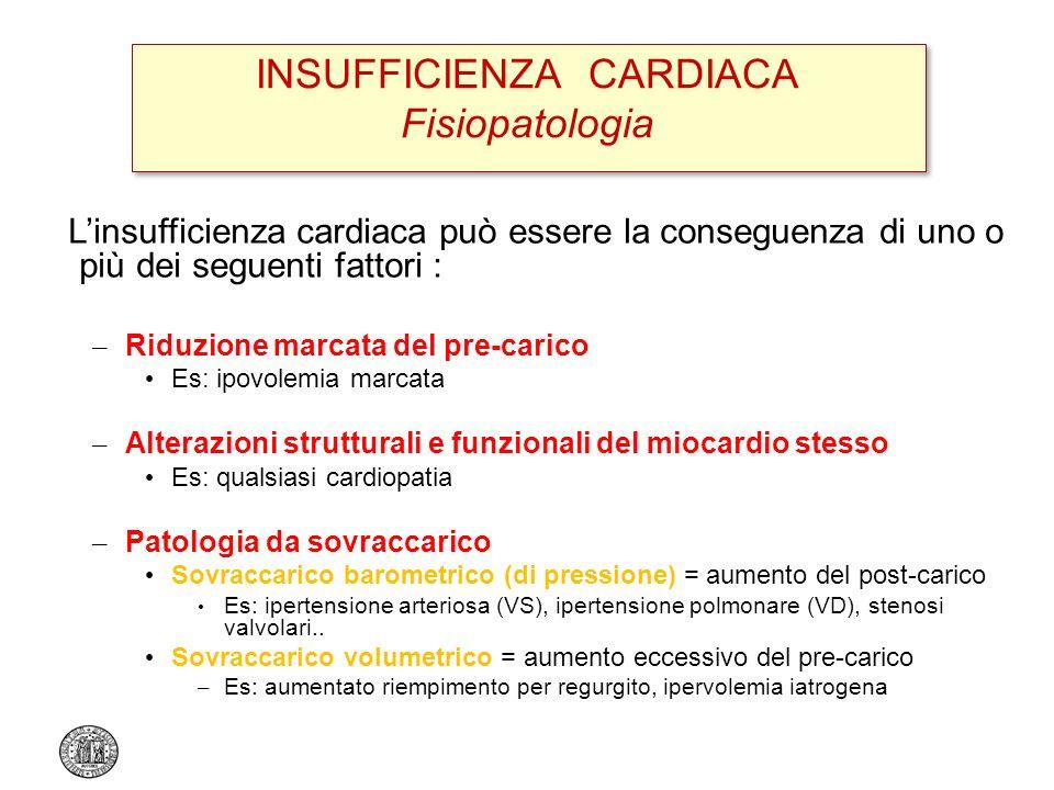 INSUFFICIENZA CARDIACA Fisiopatologia Linsufficienza cardiaca può essere la conseguenza di uno o più dei seguenti fattori : – Riduzione marcata del pr