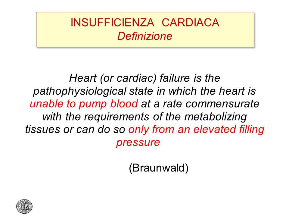 Sintomi tipici per scompenso cardiaco (dispnea o astenia), a riposo o durante lo sforzo + Segni obiettivi di disfunzione cardiaca (a riposo) + Risposta alla terapia specifica (criterio facoltativo, utile in caso di diagnosi dubbia) INSUFFICIENZA CARDIACA Definizione