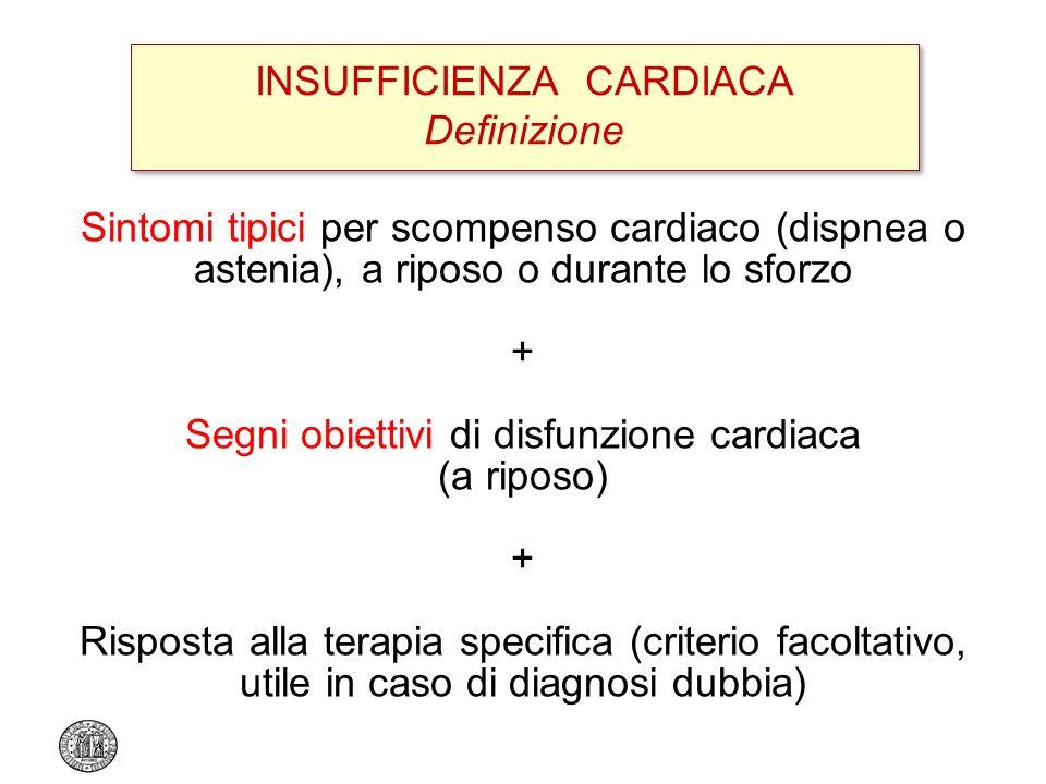Sintomi tipici per scompenso cardiaco (dispnea o astenia), a riposo o durante lo sforzo + Segni obiettivi di disfunzione cardiaca (a riposo) + Risposta alla terapia specifica (criterio facoltativo, utile in caso di diagnosi dubbia) INSUFFICIENZA CARDIACA Definizione A clinical response to treatment directed at HF alone is not sufficient for the diagnosis, but is helpful when the diagnosis remains unclear after appropriate diagnostic investigations European Heart Journal 2008;29:2388–2442