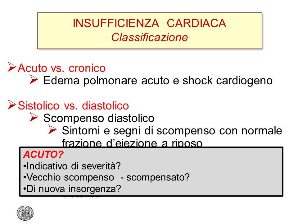 INSUFFICIENZA CARDIACA Classificazione Acuto vs. cronico Edema polmonare acuto e shock cardiogeno Sistolico vs. diastolico Scompenso diastolico Sintom