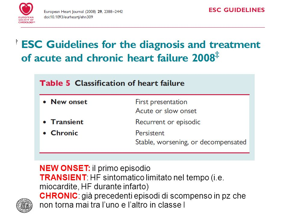NEW ONSET: il primo episodio TRANSIENT: HF sintomatico limitato nel tempo (i.e. miocardite, HF durante infarto) CHRONIC: già precedenti episodi di sco