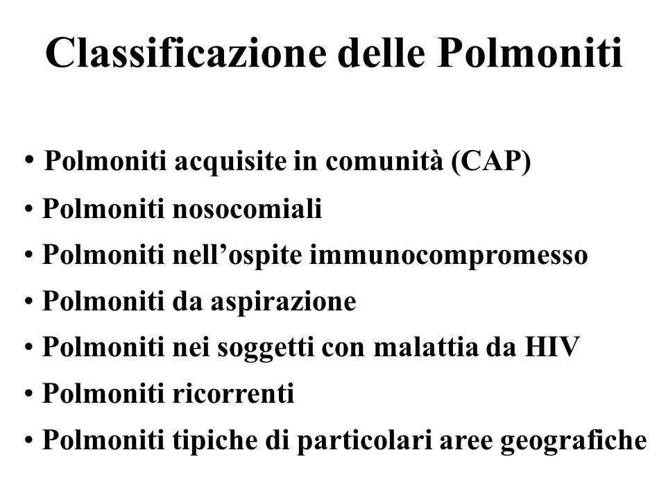 Classificazione delle Polmoniti Polmoniti acquisite in comunità (CAP) Polmoniti nosocomiali Polmoniti nellospite immunocompromesso Polmoniti da aspira