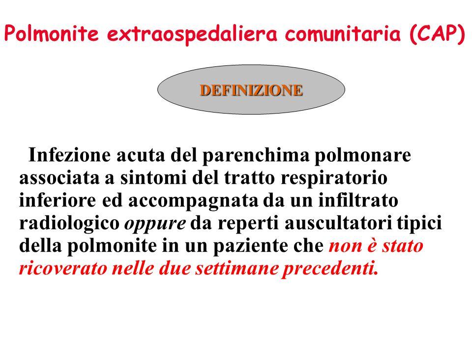 Polmonite extraospedaliera comunitaria (CAP) DEFINIZIONE Infezione acuta del parenchima polmonare associata a sintomi del tratto respiratorio inferior