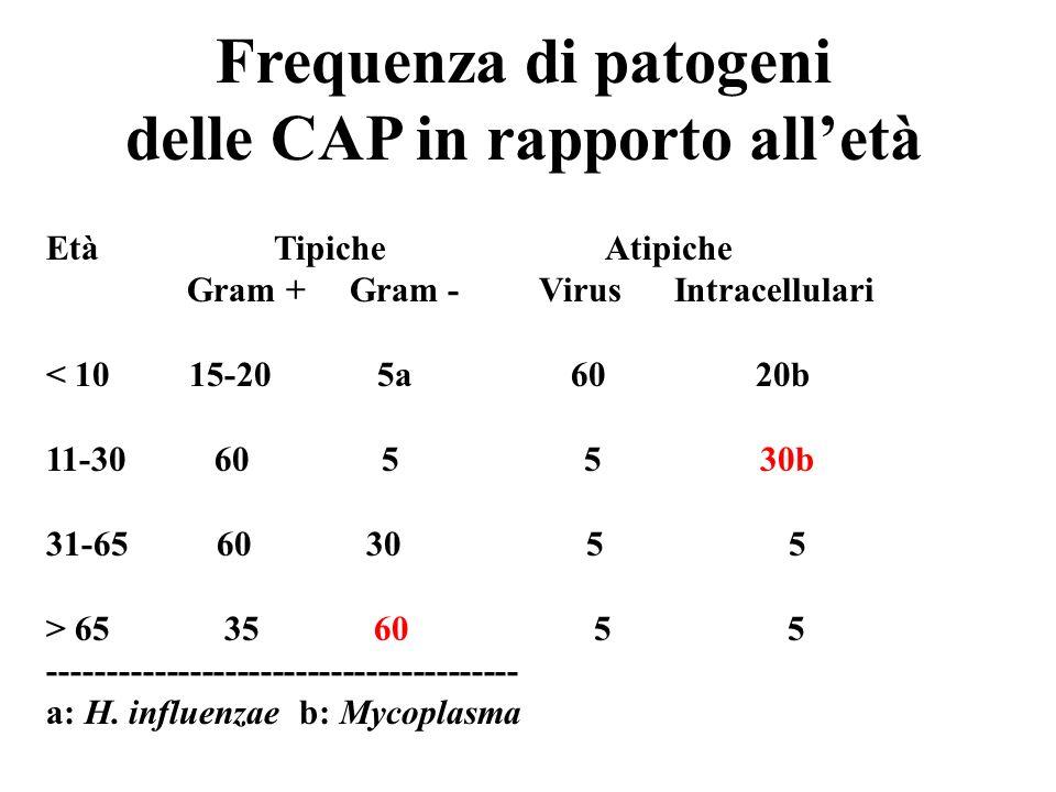 Frequenza di patogeni delle CAP in rapporto alletà Età Tipiche Atipiche Gram + Gram - Virus Intracellulari < 10 15-20 5a 60 20b 11-30 60 5 5 30b 31-65