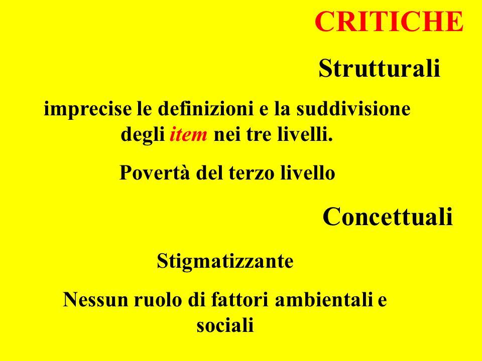 CRITICHE Strutturali Concettuali imprecise le definizioni e la suddivisione degli item nei tre livelli. Povertà del terzo livello Stigmatizzante Nessu