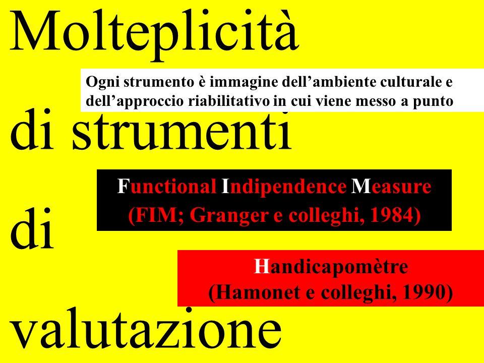 Molteplicità di strumenti di valutazione Functional Indipendence Measure (FIM; Granger e colleghi, 1984) Handicapomètre (Hamonet e colleghi, 1990) Ogn