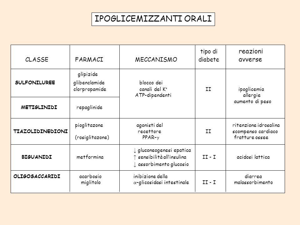 IPOGLICEMIZZANTI ORALI tipo di reazioni CLASSE FARMACI MECCANISMO diabete avverse glipizide SULFONILUREE glibenclamide blocco dei clorpropamide canali
