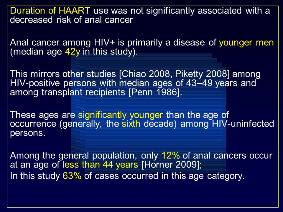 Duration of HAART use was not significantly associated with a decreased risk of anal cancer Anal cancer among HIV+ is primarily a disease of younger m