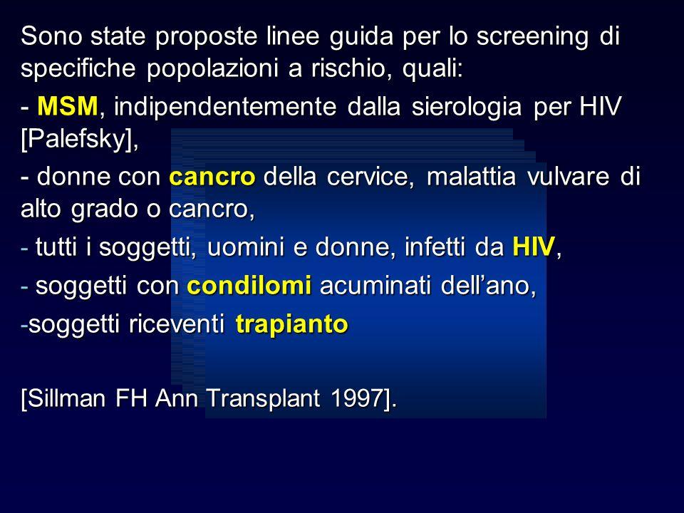 Sono state proposte linee guida per lo screening di specifiche popolazioni a rischio, quali: - MSM, indipendentemente dalla sierologia per HIV [Palefs