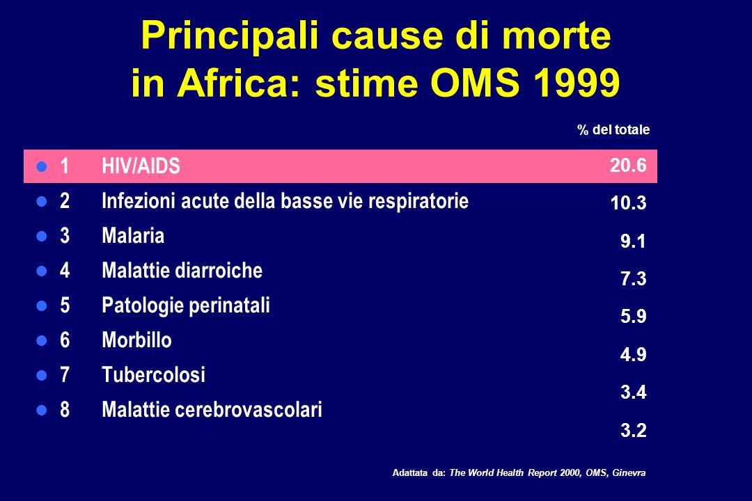 Principali cause di morte in Africa: stime OMS 1999 1HIV/AIDS 2 Infezioni acute della basse vie respiratorie 3 Malaria 4 Malattie diarroiche 5 Patolog