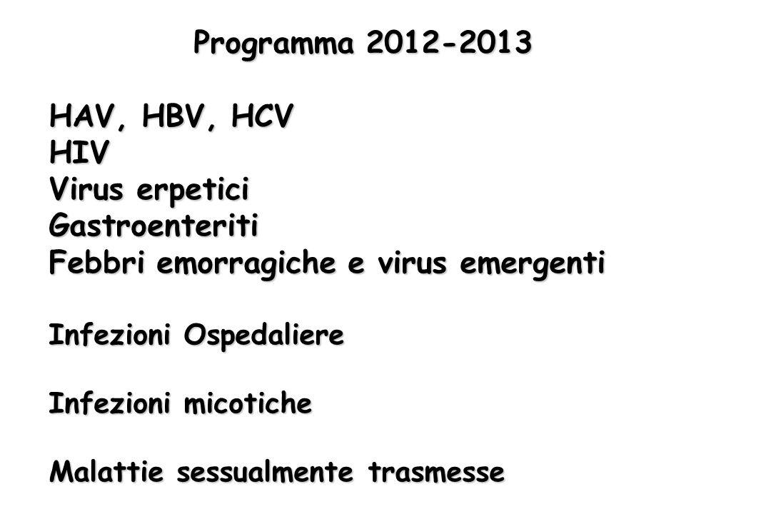 Programma 2012-2013 HAV, HBV, HCV HIV Virus erpetici Gastroenteriti Febbri emorragiche e virus emergenti Infezioni Ospedaliere Infezioni micotiche Mal