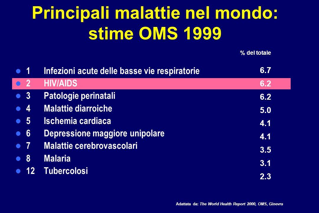 Principali malattie in Africa: stime OMS 1999 1HIV/AIDS 2 Malaria 3 Infezioni acute delle basse vie respiratorie 4 Malattie diarroiche 5 Patologie perinatali 6 Morbillo 7 Patologie della gravidanza 8 Tubercolosi 9 Malattie congenite 10 Incidenti stradali 19.9 9.9 8.5 6.5 4.7 3.4 2.3 1.7 Adattata da: The World Health Report 2000, OMS, Ginevra % del totale