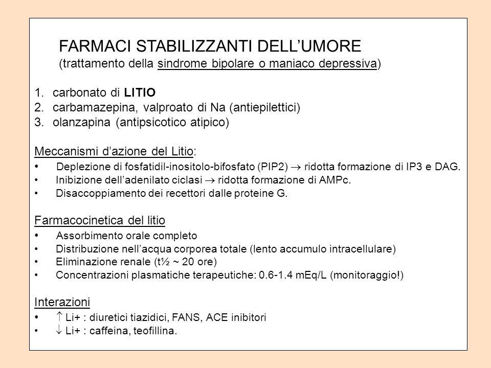 FARMACI STABILIZZANTI DELLUMORE (trattamento della sindrome bipolare o maniaco depressiva) 1.carbonato di LITIO 2.carbamazepina, valproato di Na (antiepilettici) 3.olanzapina (antipsicotico atipico) Meccanismi dazione del Litio: Deplezione di fosfatidil-inositolo-bifosfato (PIP2) ridotta formazione di IP3 e DAG.