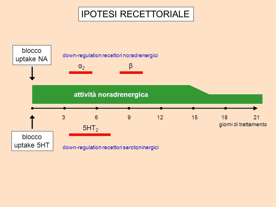 IPOTESI RECETTORIALE attività noradrenergica giorni di trattamento 32196121518 down-regulation recettori noradrenergici down-regulation recettori serotoninergici α2α2 β 5HT 2 blocco uptake NA blocco uptake 5HT