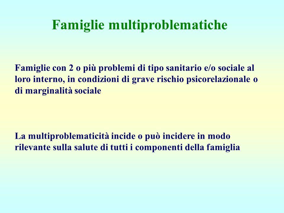Famiglie multiproblematiche Famiglie con 2 o più problemi di tipo sanitario e/o sociale al loro interno, in condizioni di grave rischio psicorelaziona