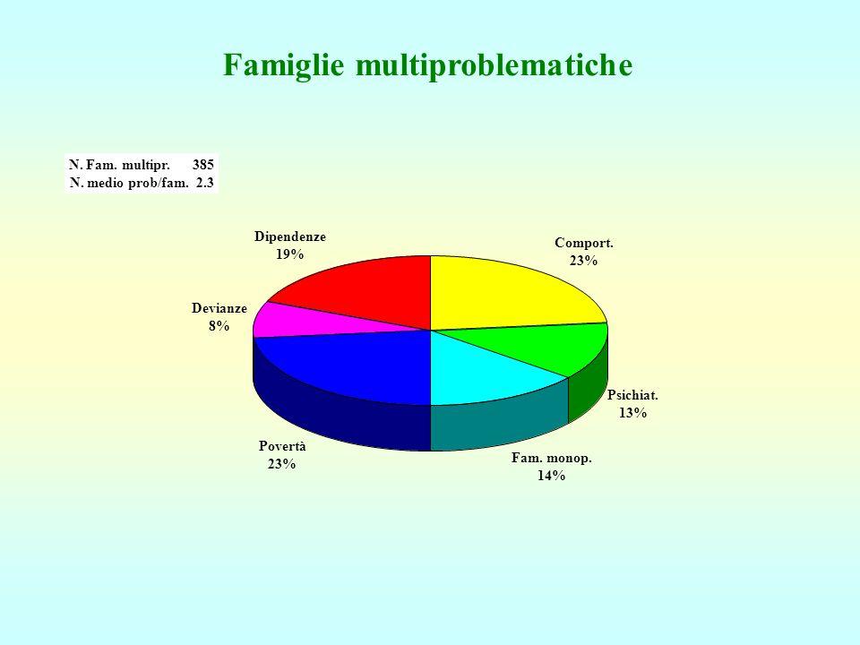 Famiglie multiproblematiche Comport. 23% Psichiat. 13% Fam. monop. 14% Povertà 23% Devianze 8% Dipendenze 19% N. Fam. multipr. 385 N. medio prob/fam.