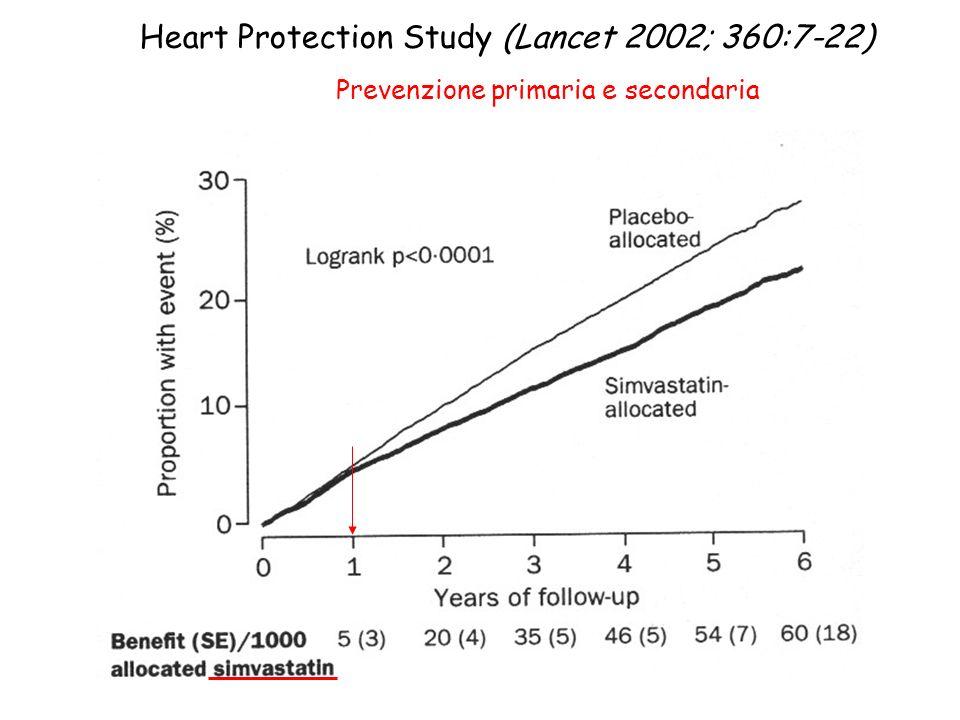 Heart Protection Study (Lancet 2002; 360:7-22) Prevenzione primaria e secondaria