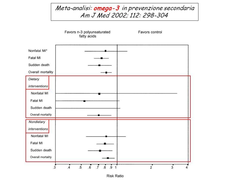 Meta-analisi: omega-3 in prevenzione secondaria Am J Med 2002; 112: 298-304