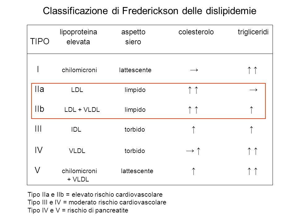 Classificazione di Frederickson delle dislipidemie lipoproteina aspettocolesterolotrigliceridi TIPO elevata siero I chilomicronilattescente IIa LDL li