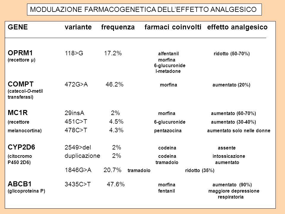MODULAZIONE FARMACOGENETICA DELLEFFETTO ANALGESICO GENEvariante frequenza farmaci coinvoltieffetto analgesico OPRM1 118>G 17.2% alfentanil ridotto (50-70%) (recettore μ) morfina 6-glucuronide l-metadone COMPT 472G>A 46.2% morfina aumentato (20%) (catecol-O-metil transferasi) MC1R 29insA 2% morfina aumentato (60-70%) (recettore 451C>T 4.5% 6-glucuronide aumentato (30-40%) melanocortina) 478C>T 4.3% pentazocinaaumentato solo nelle donne CYP2D6 2549>del 2% codeina assente (citocromo duplicazione 2% codeina intossicazione P450 2D6) tramadolo aumentato 1846G>A 20.7% tramadolo ridotto (35%) ABCB1 3435C>T 47.6% morfina aumentato (90%) (glicoproteina P) fentanil maggiore depressione respiratoria
