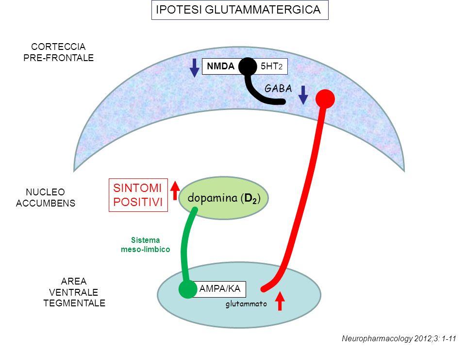 glutammato dopamina (D 1 ) AMPA/KA GABA CORTECCIA PRE-FRONTALE AREA VENTRALE TEGMENTALE SINTOMI NEGATIVI IPOTESI GLUTAMMATERGICA GABA NMDA 5HT 2 Sistema meso-corticale